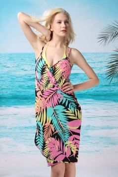Pink Modest Ladies String Leaves Printed Beach Dress