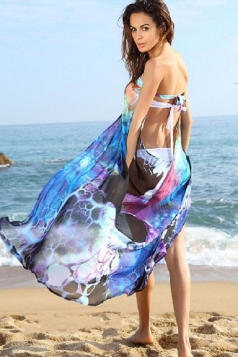 Blue Womens Fancy Cut Out Beach Sarong