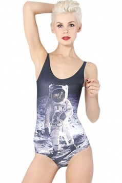 Black Ladies Cool Astronaut Printed One Piece Monokini