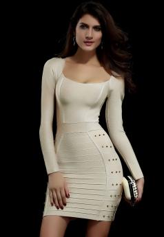 Beige Studded Evening Bandage Dress
