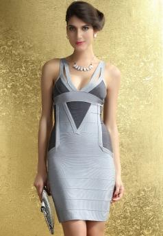 Black Gray Club Party Wear Bandage Dress