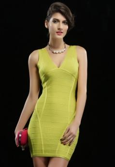 Lime V-neck Ribbed Party Bandage Dress