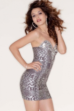 Luxurious Strapless Beaded Gray Printed Bandage Dress