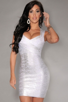 New Fashion Silver Foil Print Bandage Dress Celebrity Style