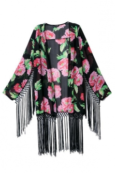 Black Charming Womens Long Sleeves Floral Tassel Kimono