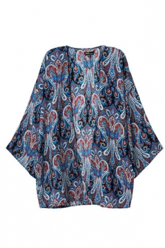 Blue Retro Womens Long Sleeves Tribal Print Kimono