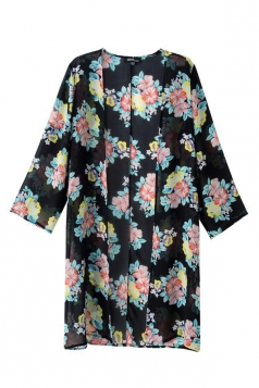Black Vintage Ladies Long Sleeves Floral Chiffon Kimono