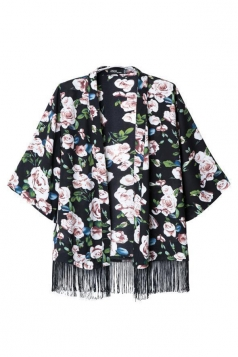 Black Stylish Womens Half Sleeves Rose Print Tassel Kimono