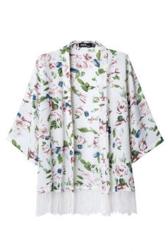 White Casual Womens Long Sleeves Tassel Floral Kimono