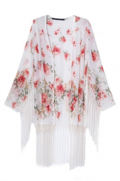 White Pretty Womens Long Sleeves Floral Tassel Kimono