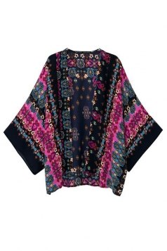 Black Vintage Ladies Long Sleeves Floral Kimono