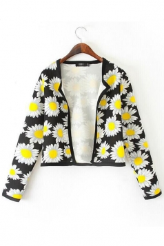 Yellow Pretty Womens Long Sleeves Sunflower Print Short Blazer