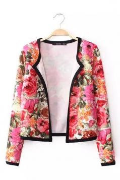 Pink Trendy Ladies Floral Print Lapel Chiffon Blazer