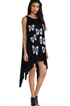 Black Irregularly Skull Butterflies Sexy Womens Smock Dress