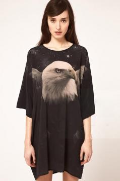 Black Womens Cool Eagle Printed Loose Dress