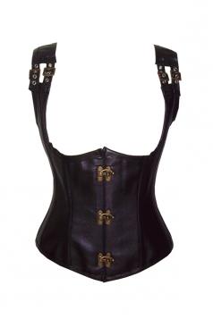 Black Vintage Sexy Womens Metal Leather Corset