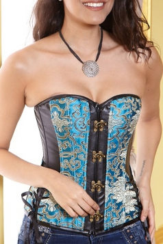 Elegant Ladies Lace Up Embroidery PU Leather Corset
