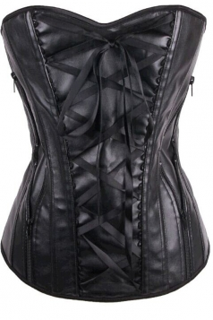 Chic Womens Lace Up Over Bust PU Leather Corset