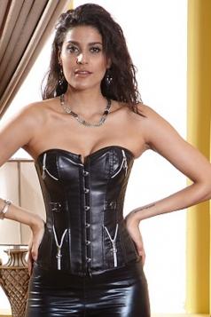Modern Womens Over Bust Zipper PU Leather Corset