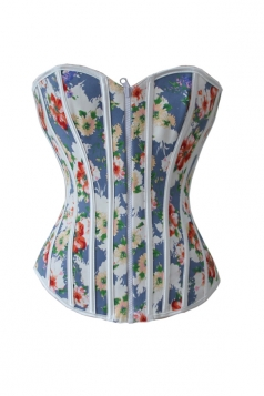 Sexy Ladies Zipper Floral Satin Over Bust Corset