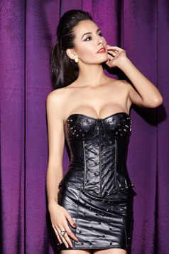 Pretty Ladies Rivets Leather Sexy Corset Dress