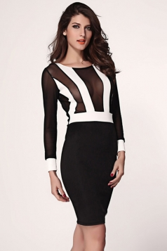 Alluring Ladies Long Sleeves Striped Sheer Clubwear Dress