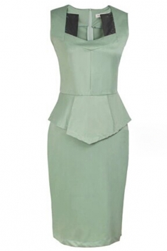 Green Sexy Ladies Sleeveless Square Collar Peplum Dress