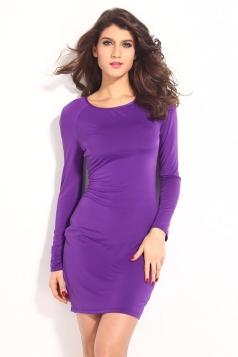 Purple Elegant Ladies Crew Neck Cut Out Cross Long Sleeve Dress