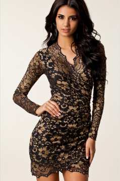 Gold Charming Womens Long Sleeve Embroidered Bodycon Dress