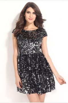 Trendy Ladies Short Sleeves Sequin Backless Cocktail Dress