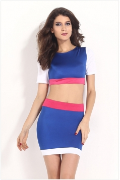 Multicolor Sexy Womens Short Sleeves Patchwork Skirt Suit
