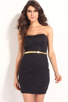 Black Trendy Womens Sleeveless Jacquard Slim Tube Dress