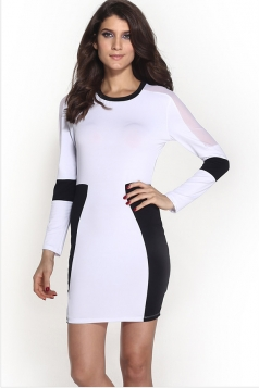 White Long Sleeves Patchwork Sexy Womens Clubwear Dress