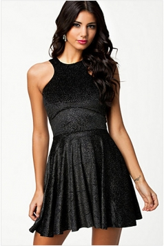 Black Back Open Sexy Womens Fancy Slim Cocktail Dress