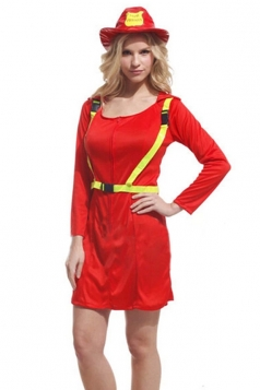 Red Cool Womens Firefighter Halloween Costume