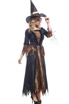 Black Retro Ladies Evil Witch Halloween Costume