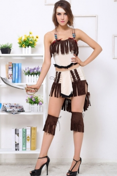 Brown Cool Ladies Indian Princess Folk Halloween Costume
