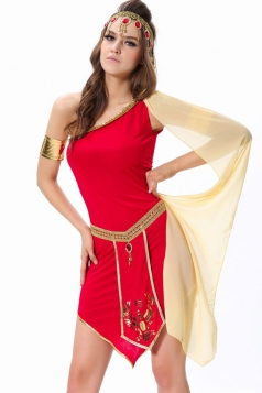 Red Pretty Arabic Girl Halloween Folk Costume