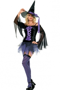 Purple Trendy Womens Witch Halloween Costume