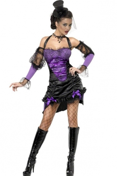 Purple Creepy Halloween Witch Costume for Womens