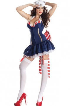 Blue Sexy Girls Party King Pin Up Sailor Halloween Costume