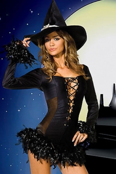 Black Retro Halloween Witch Costume for Womens