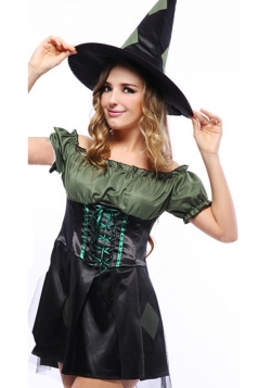 Green Fancy Ladies Witch Halloween Costume