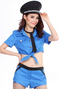 Blue Sexy Womens Cop Halloween Costume