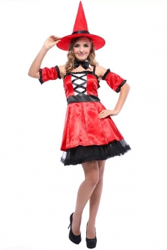 Red Pretty Womens Witch Halloween Costume