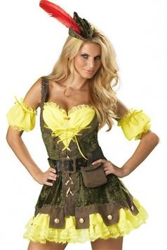 Green Fancy Ladies Robin Hood Halloween Superhero Costume