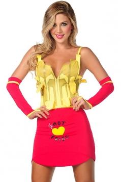 Yellow Cute Girls French Fries Halloween Maid Costume