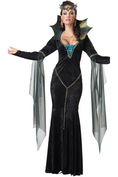 Black Unique Ladies Deluxe Halloween Evil Queen Costume