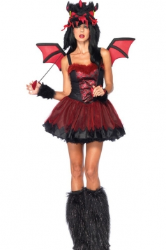 Red Sexy Ladies Demon Dragon Halloween Monster Costume