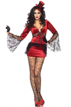Red Sexy Womens Neck Biting Vampire Halloween Costume